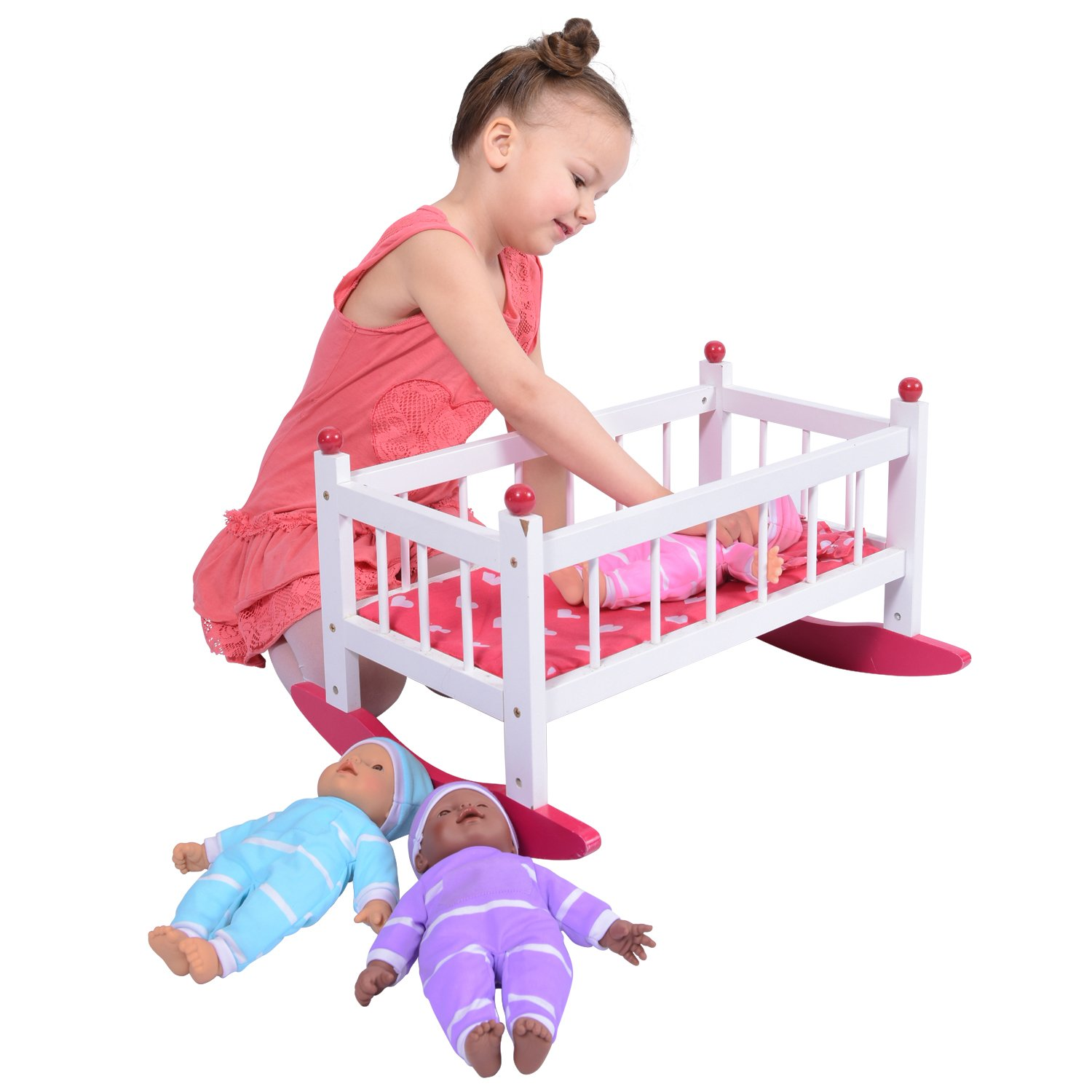 Wooden Baby Doll Rocking Cradle - Fits Baby Dolls and 18 Inch Dolls - Includes Mattress & Bedding The New York Doll Collection HT-WDF007