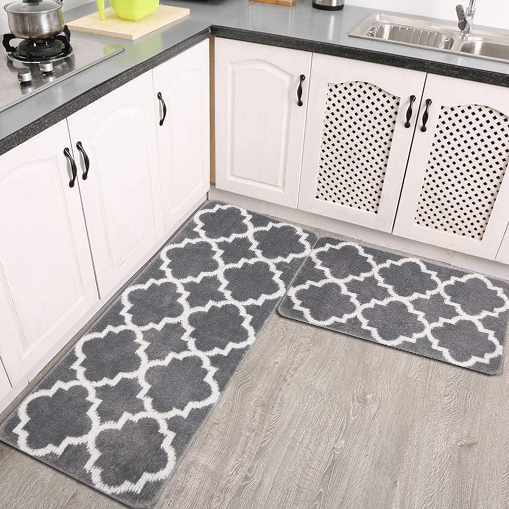 Homcomoda Kitchen Rug and Mats Set 2 Pieces 18x30 Washable Kitchen Mats for Floor Non Slip Kitchen Floor Mats Rug Runners 100/% Polypropylene