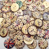 AKOAK 50 Piece Pack 20mm New Vintage Style Popular Bulk Mixed Craft Wooden Clock Buttons Two-Holes Round Wooden Buttons Sewing Accessories Decorative Buttons