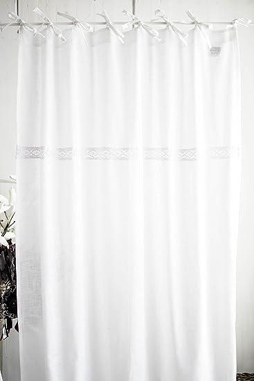 Julia weiß Vorhangset mit Spitzenborte 2x(120x250cm) Vorhänge ...