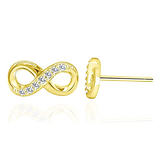 5ad03587f 14k Yellow Gold Plated Sterling Silver Cubic Zirconia Half Set Infinity  Stud Earrings