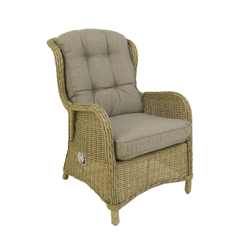 Pack 2 sillones reclinables para jardín, Aluminio y rattán sintético Redondo, Natural, Tamaño:64x80x105 cm