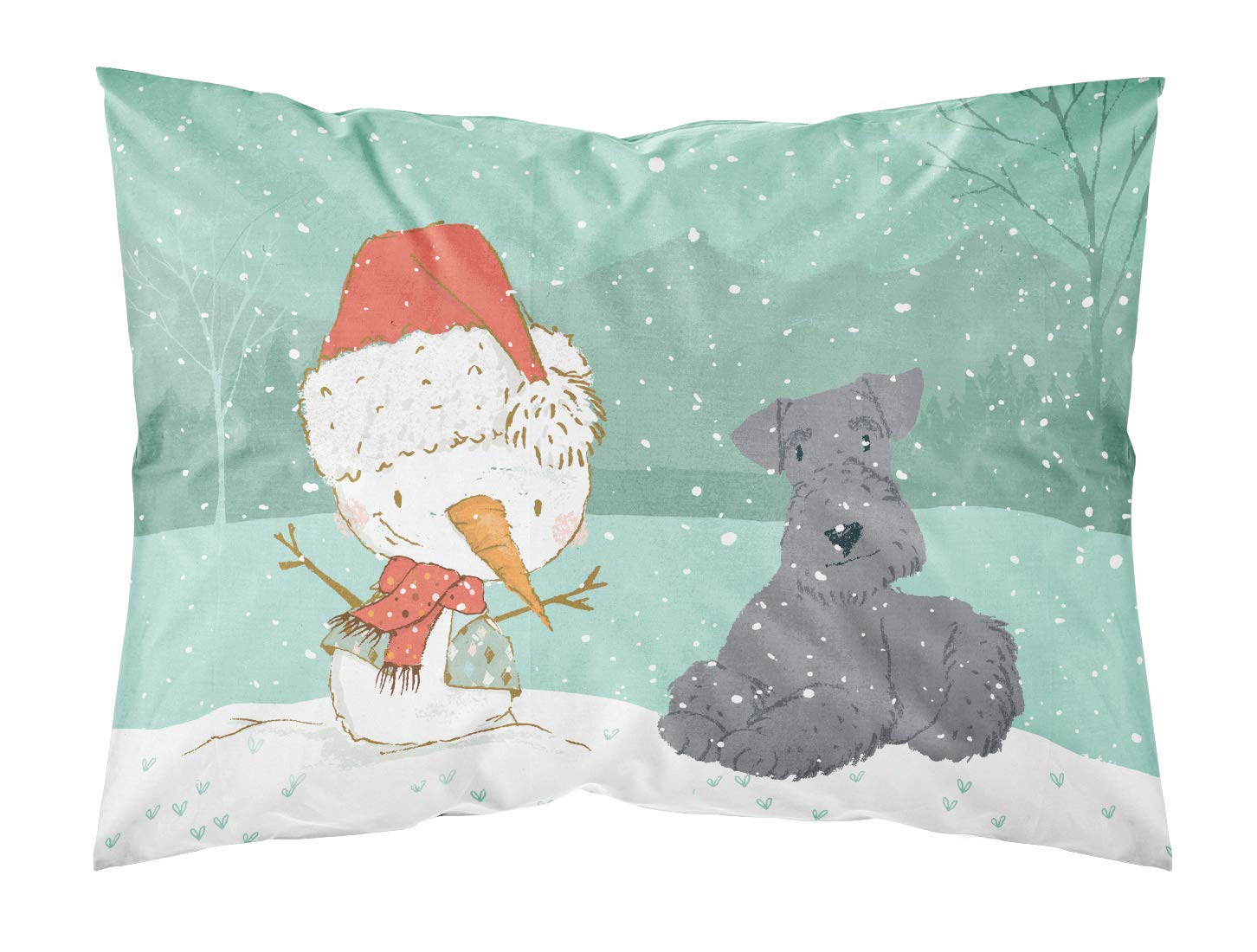 Carolines Treasures Lakeland Terrier Snowman Christmas Fabric Standard Pillowcase Multicolor