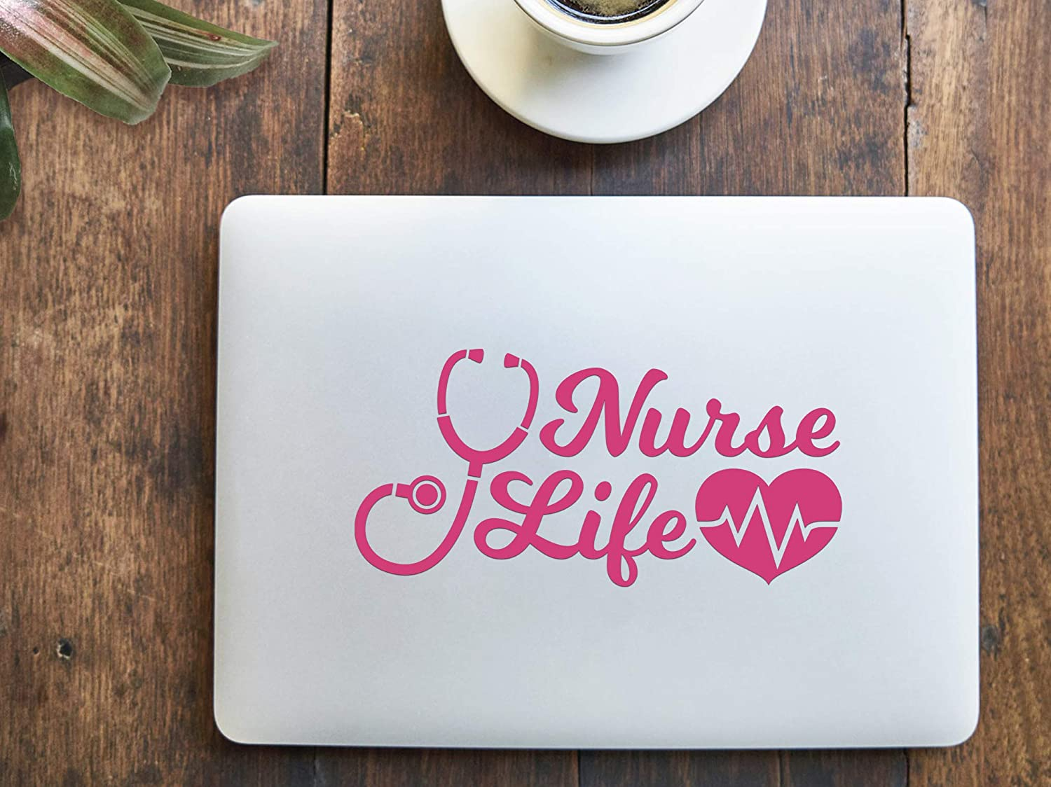 Pink Nurse Life Stethoscope Heartbeat Vinyl Car Window Decal Vehicle Bumper Sticker 6.5 x 3.2 inches