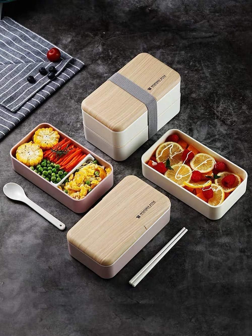 Bienser Lunchbox ideal f/ür Schule Picknick 2-Lagige Japanische Premium Bento Box- Wei/ß- BPA-frei I Sp/ülmaschinengeeignet I Mikrowellengeeignet Reisen Nachhaltig und Gesund Brotdose mit L/öffel
