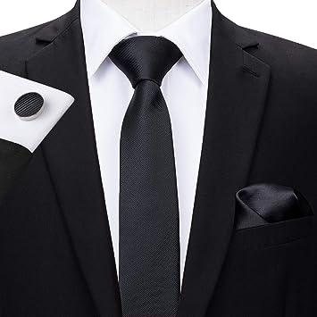 HYCZJH 5,5 cm de Seda Corbata Delgada para los Hombres Negro ...