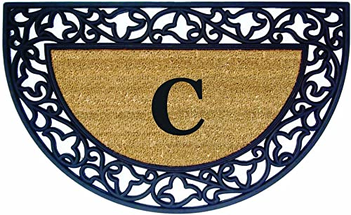 Nedia Home Acanthus Border with Half Round Rubber Coir Doormat, 22 by 36-Inch, Monogrammed C