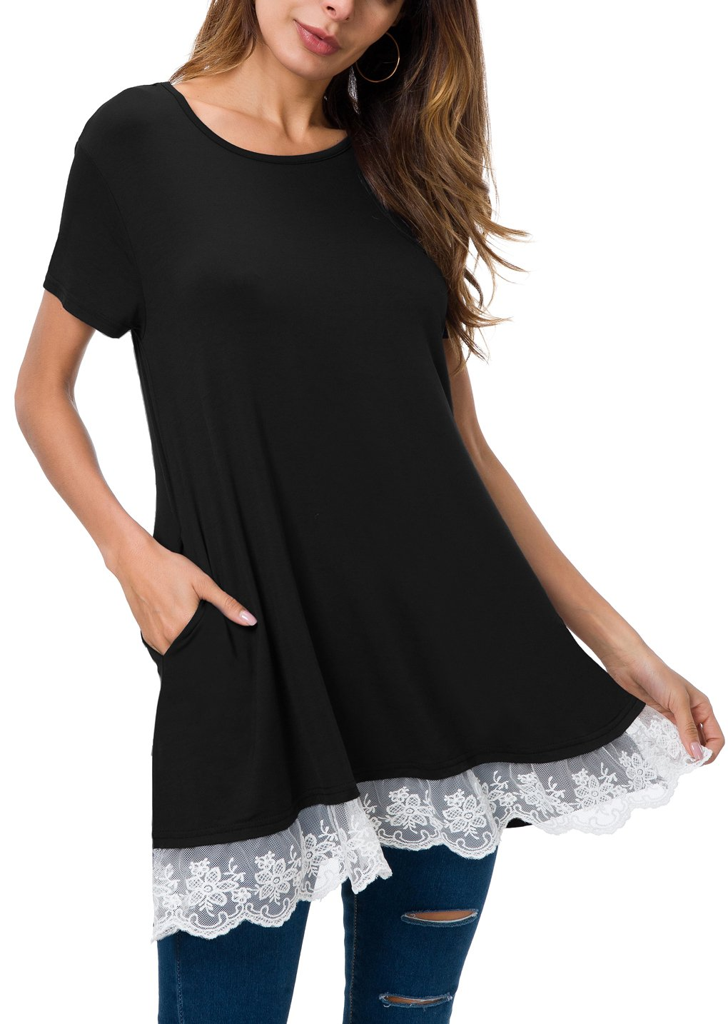 Mounblun Women Lace Short Sleeve Tunic Top Blouse with Pocket (XX-Large, Shortsleeve-Black) by Mounblun (Image #1)