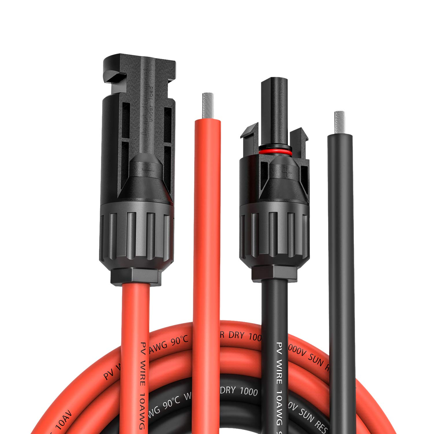 Kohree 20 Feet 10AWG Solar Panel Extension Cable Wire Kits with Waterproof MC4 Female and Male Connector (20FT Red + 20FT Black) by Kohree