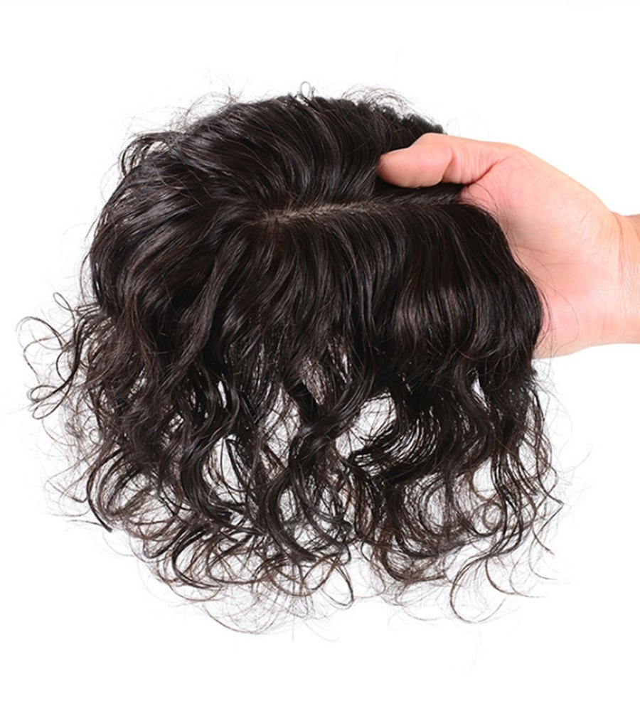 Moreal Base 3.5'' x 5.5'' Curly Human Hair Mono Topper Handtied Top Piece Clip in Wiglet for Women (8'' Natural Black)