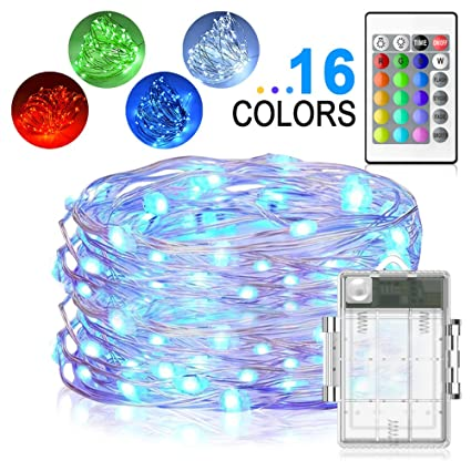 Amazon led string lights yoozon 16ft 50 leds fairy lights led string lights yoozon 16ft 50 leds fairy lights battery operated waterproof 16 colors outdoor aloadofball Images
