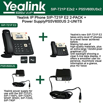 Amazon com : Yealink IP Phone SIP-T21P E2 2-PACK 2-Lines + 2