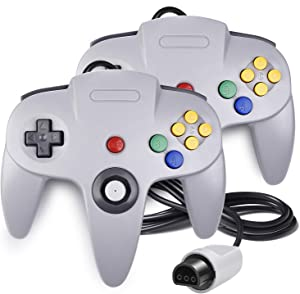2 Pack N64 Controller, iNNEXT Classic Wired N64 64-bit Gamepad Joystick for Ultra 64 Video Game Console N64 System (Grey)