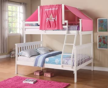 Amazon Com Twin Over Full Girls Bunk Beds With Pink Tent Free Storage Pockets Furniture Decor