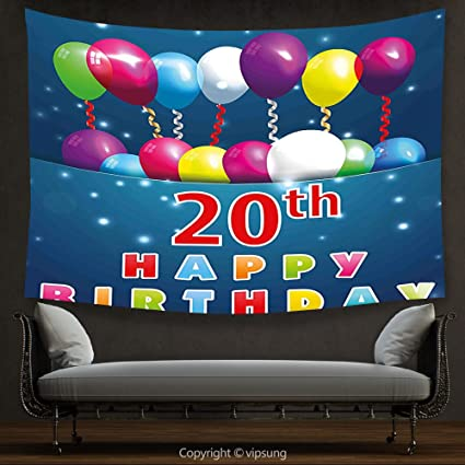 House Decor Tapestry 20th Birthday Decorations Sweet 20 Party With Colorful Balloons On Blue Backdrop
