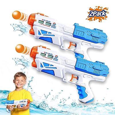ZHENDUO 2Pcs Water Gun, Super Soaker Water Guns Power Popper Gun 500CC Squirt Guns Water Pistol Water Blaster Toys for Boys Girls Swimming Pool Toys Water Fighting Toy Boys Girls Outdoor Games: Toys & Games