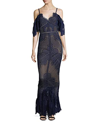 b774fa78 Marchesa Notte Women's Short Sleeve Guipure Evening Gown 16 Navy at ...