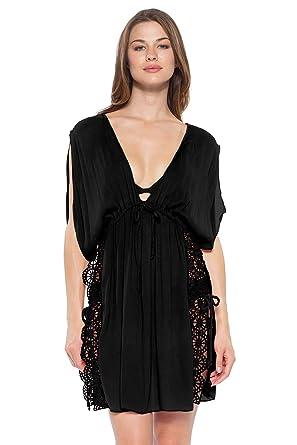 c52e6ae868 Becca by Rebecca Virtue Women's Crochet Trim Cover Tunic Swim Cover Up Black  ...