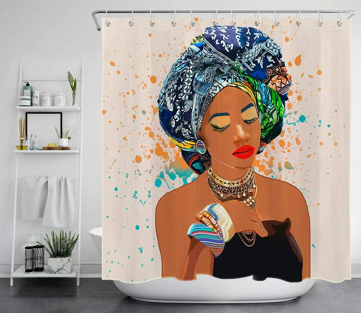 Lumengqi Pa/ñuelo Colorido Africano Hermosa ni/ña Mujer Cortina de Ducha Impermeable Decorativa con impresi/ón HD 180X180cm 12 Ganchos Gratis Adecuada para ba/ño