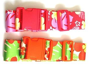 Amazon.com: Pink Floral Print Adjustable Suitcase / Luggage Strap ...