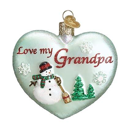 Amazon.com: Old World Christmas Ornaments: Grandpa Heart Glass Blown ...