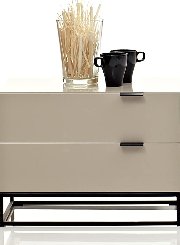 Contemporary Minimalist Dark Brown and Avorio Night Stand by Argo Furniture