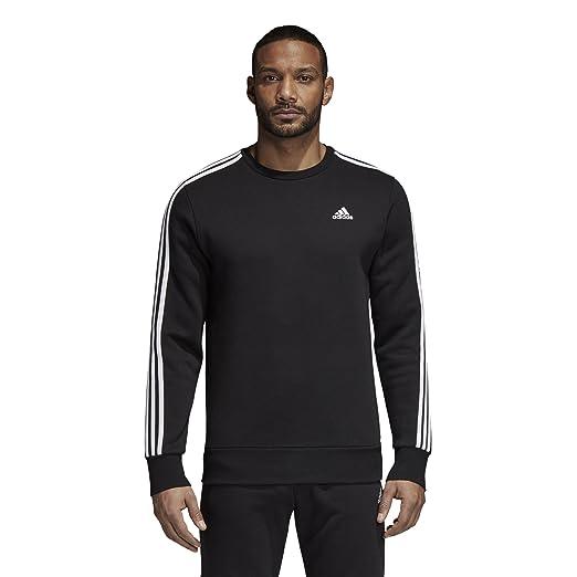 e4f6813e81ad adidas Men's Athletics Essential 3 Stripe Crew Sweatshirt, Black/White,  3X-Large