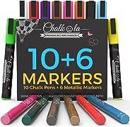 Liquid Chalk Markers & Metallic Colors by Chalkola - Pack of 16 Chalk Pens - for Chalkboard, Blackboards, Window, Glass, Bist
