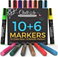 Chalkola Chalk Markers & Metallic Colors - Pack of 16 chalk pens - For Chalkboard, Whiteboard, Blackboard, Window, Glass, Bistro - 6mm Reversible bullet & chisel Tip erasable ink