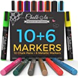 Liquid Chalk Markers & Metallic Colors by Chalkola | Pack of 16 chalk pens | For Chalkboard, Whiteboard, Blackboard, Window, Glass, Bistro | 6mm Reversible Bullet & Chisel Tip Erasable Ink