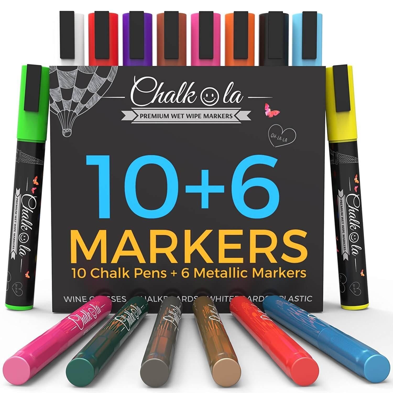 Liquid Chalk Markers & Metallic Colors by Chalkola | Pack of 16 chalk pens | For Chalkboard, Whiteboard, Blackboard, Window, Glass, Bistro | 6mm Reversible Bullet & Chisel Tip Erasable Ink by Chalkola
