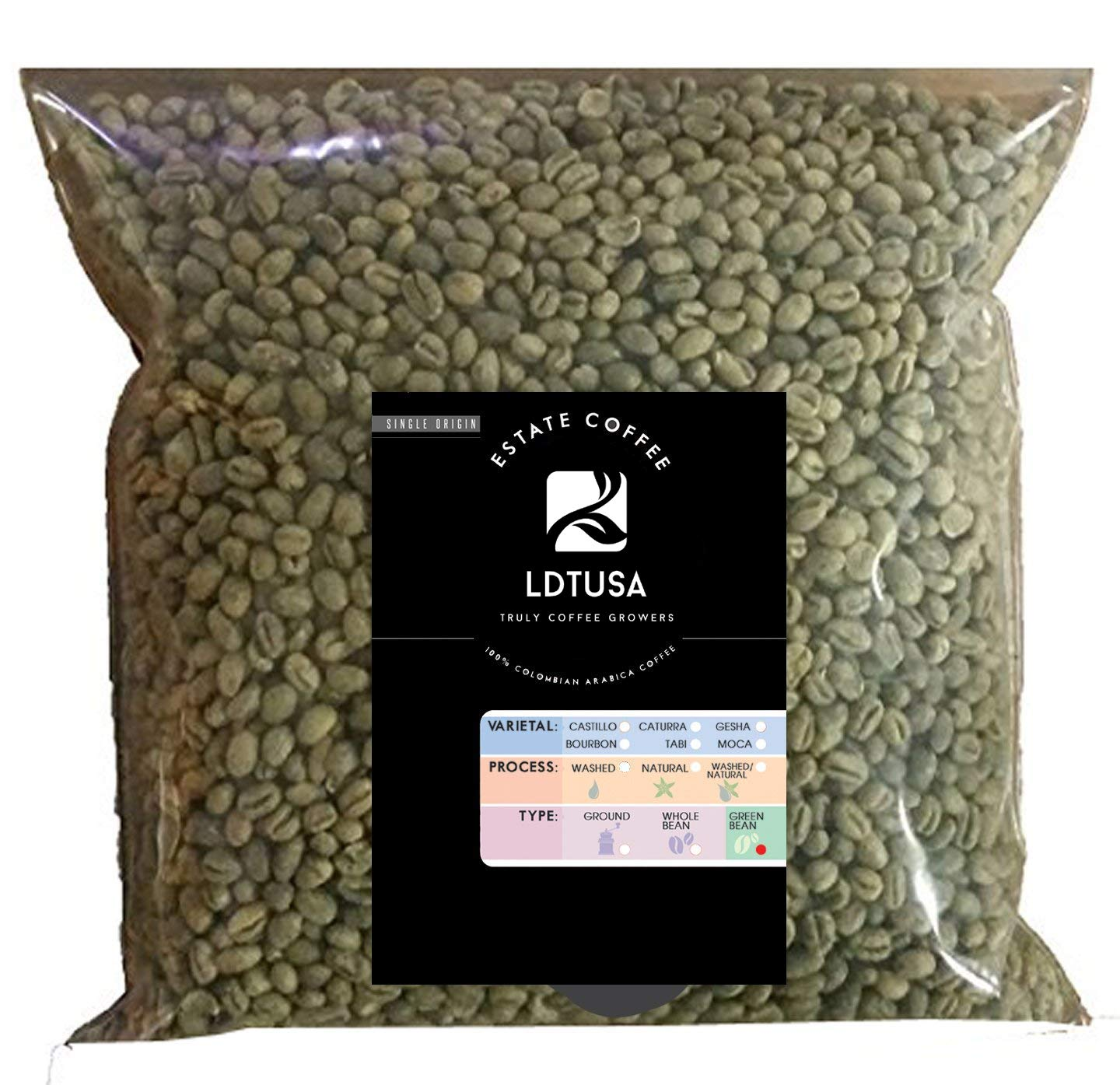 Peaberry Honey Process Single Origin Unroasted Green Coffee Beans, Specialty Grade From Colombia Estates, Direct Farm Trade (Peaberry - 86.5 pt, 5 lb) by Laderas del Tapias