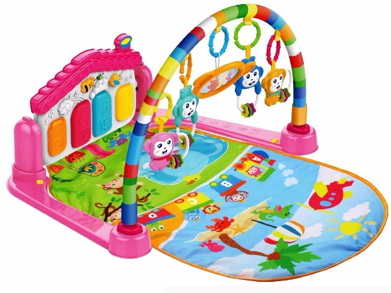 3 en 1 Baby Piano Play Gym PlayMat Mú sica y luces (piano blanco) SILUK