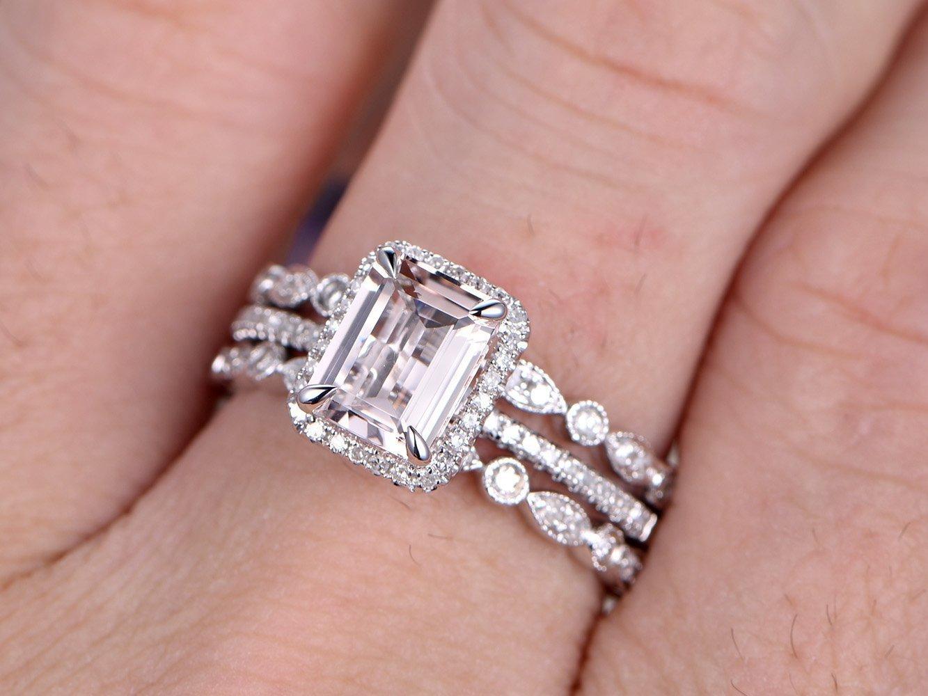 Amazon.com: Morganite Wedding Ring Set Solid 14k White Gold 6x8mm ...