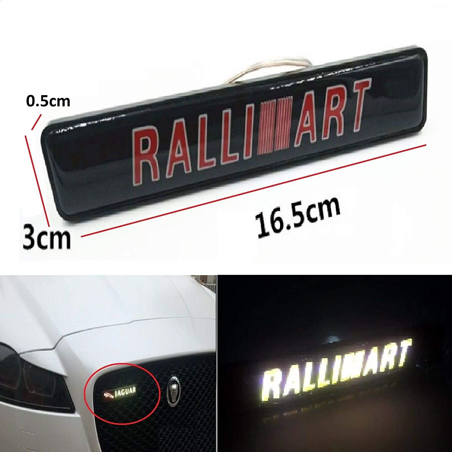 Gooogo RA-LED Outlander Lancer Evolution EVO Ralliart LED Light Car Front Grille Badge Illuminated Decal