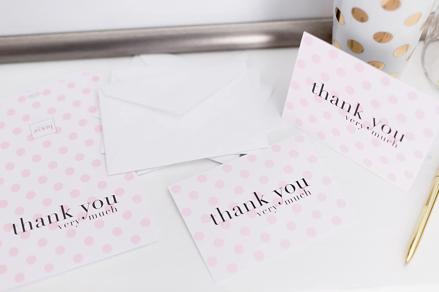 com purple polka dot thank you cards 36 lavender blank notes note cards with 36 envelopes
