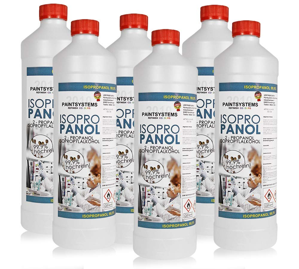 Isopropanol - Reiniger-Entfetter-2-Propanol 6x 1, 0 Liter Isopropylalkohol 99, 9% Paintsystems GmbH