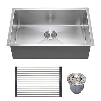 Captivating Voilamart 28u0026quot; X 18u0026quot; Single Bowl Handmade Stainless Steel Kitchen  Sink 18 Gauge