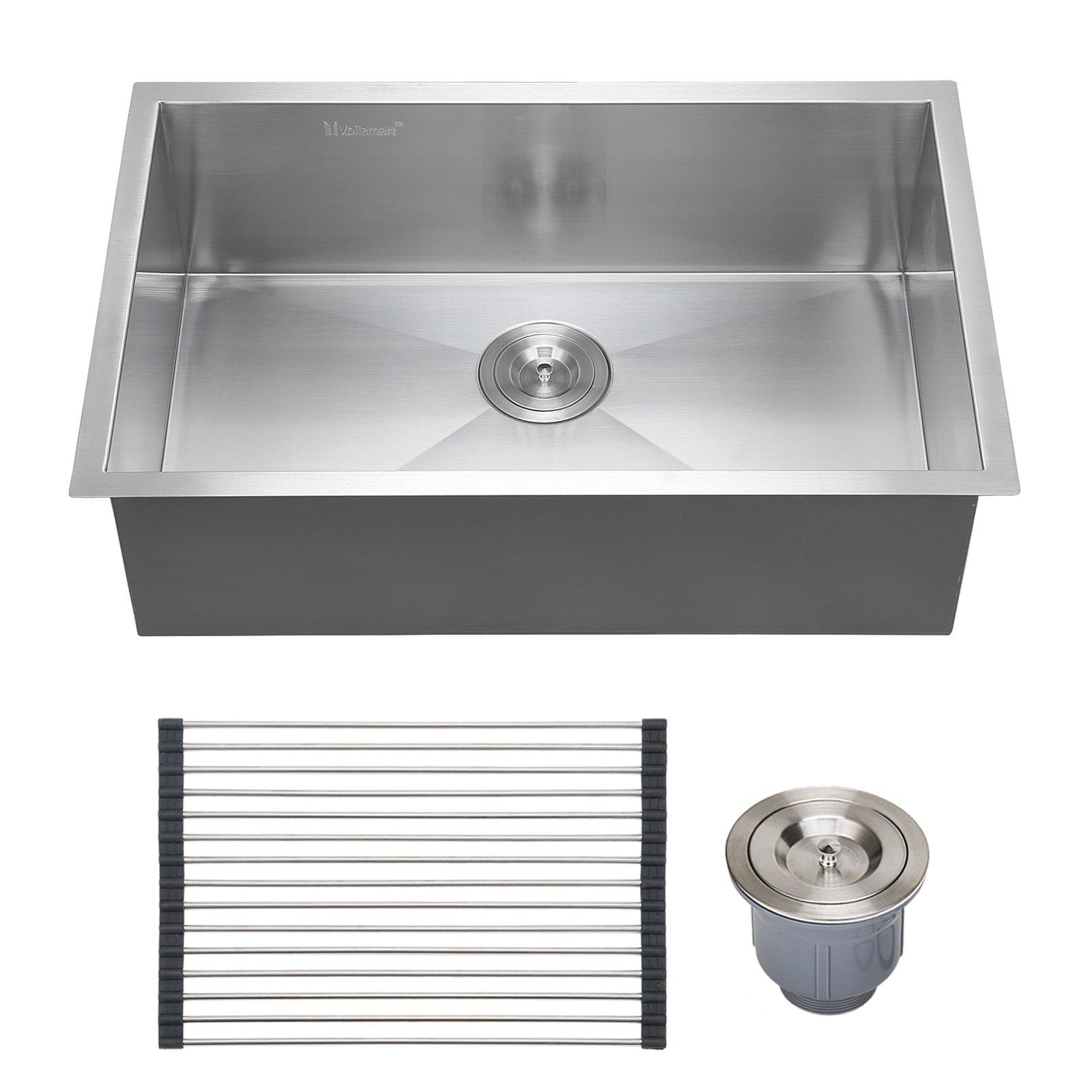 Voilamart 28'' x 18'' Single Bowl Handmade Stainless Steel Kitchen Sink 18 Gauge - Undermount Topmount Flushmount