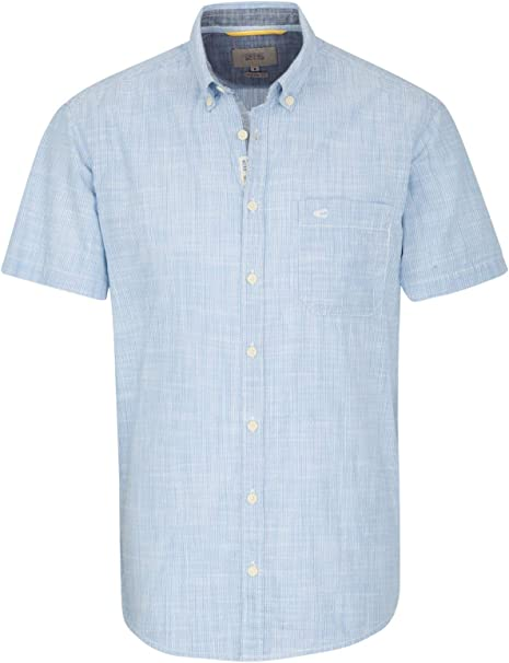 camel active Herren Casual Hemd Regular fit Kurzarm Button Down Kragen Bügelleicht