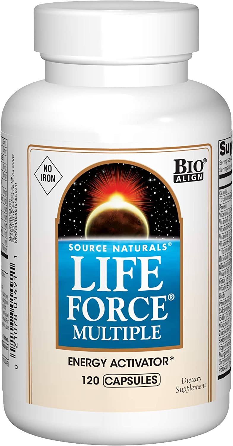 Source Naturals Life Force Multiple Iron Free Daily Multivitamin High Potency Essential Vitamins, Minerals, Antioxidants Nutrients – Energy Immune Boost – 120 Capsules