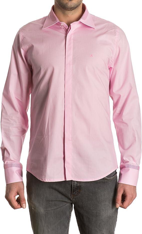 Sinigual - Camisa Lisa De Hombre Con Cuello Italiano Bicolor, Botones Ocultos Y Puños Ajustables Color Rosa, Talla L: Amazon.es: Ropa y accesorios
