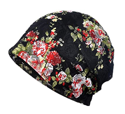 Womens Elegant Floral Lace Turban Cap Chemo Cancer Beanie Cap nightcap (Black)
