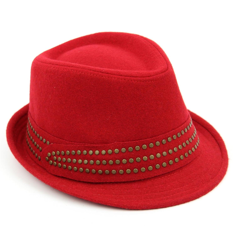 Hawkins Ladies Trilby hat Beige Melton Wool Studded Band Womens Quality