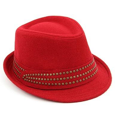 302b224f05c Hawkins Ladies trilby hat red melton wool studded band womens quality - 57   Amazon.co.uk  Clothing