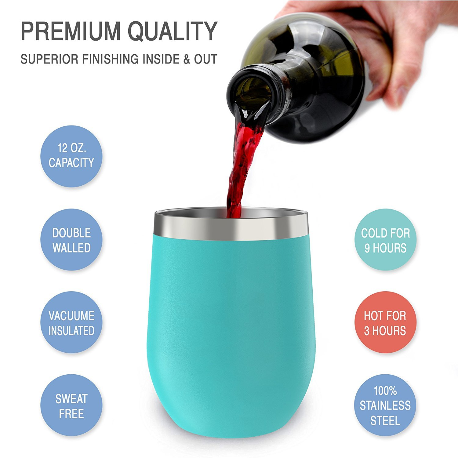 Stainless Steel Stemless Wine Glass Tumbler with Lid, 12 oz   Double Wall Vacuum Insulated Travel Tumbler Cup for Coffee, Wine, Cocktails, Ice Cream   Sweat Free, Unbreakable, BPA Free, Powder Coated by CHILLOUT LIFE (Image #3)