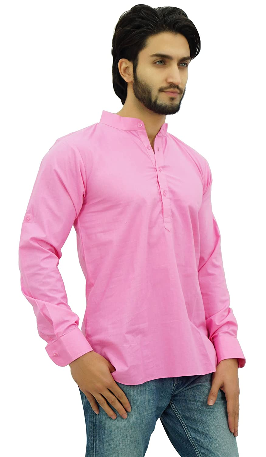 4f768e49f Amazon.com: Atasi Ethnic Men's Short Kurta Mandarin Collar Cotton Shirt:  Clothing