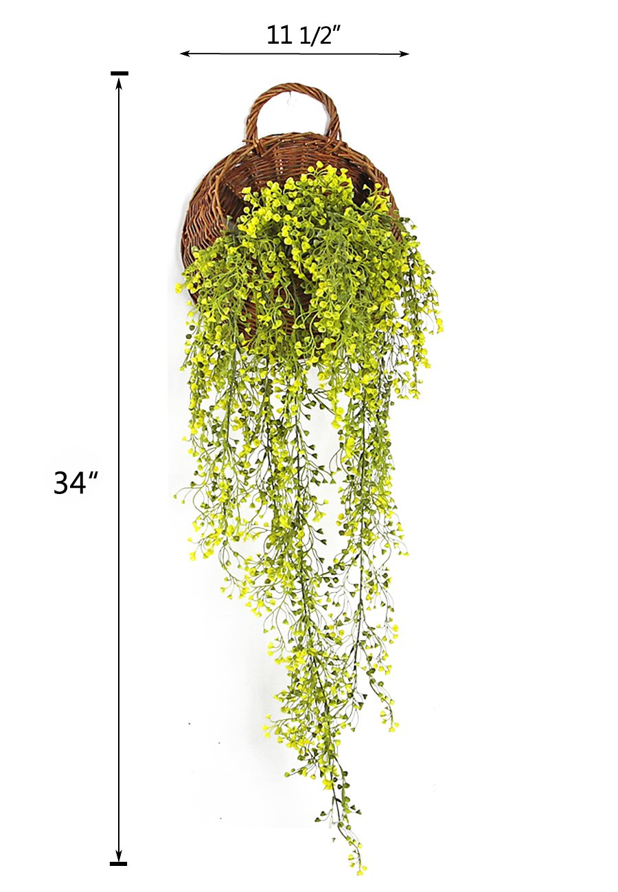 Mkono Wall Hanging Basket with Decorative Artificial Plant Vine for Home Garden Wedding Decor, Yellow by Mkono (Image #5)