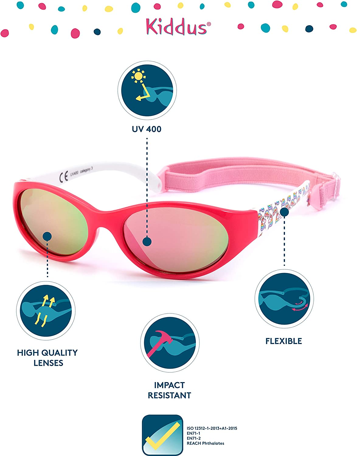 Useful Gift Adjustable and Detachable Band Impact Resistant UV400 Sun Protection Age from 2 to 6 years KIDDUS Kids Comfort Sunglasses Children Girl Boy Flexible and Comfortable