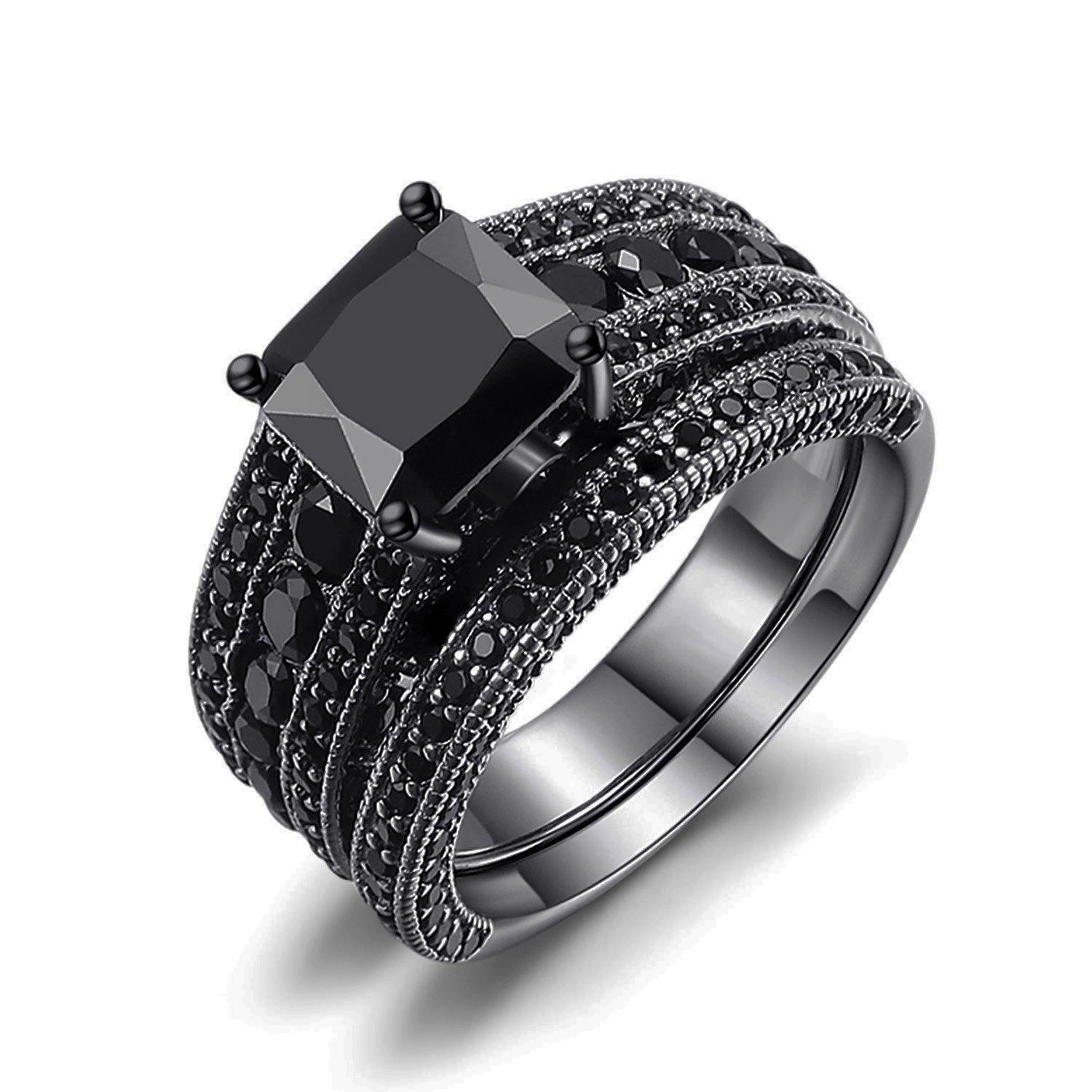 Castillna Black Sterling Silver Princess Cut Created Black Sapphire Wedding Engagement Bridal Rings Set